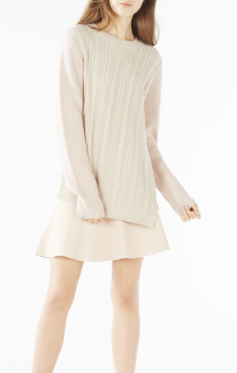 Krysta Color-Blocked Cable-Knit Sweater