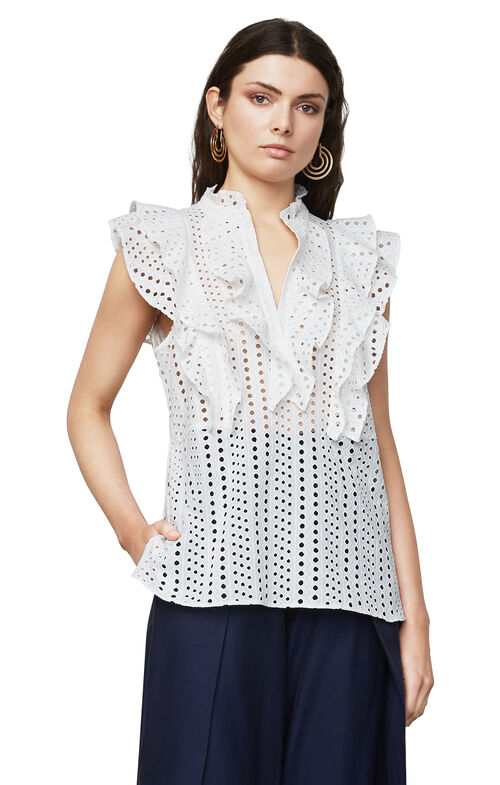 Addie Eyelet Ruffle Top