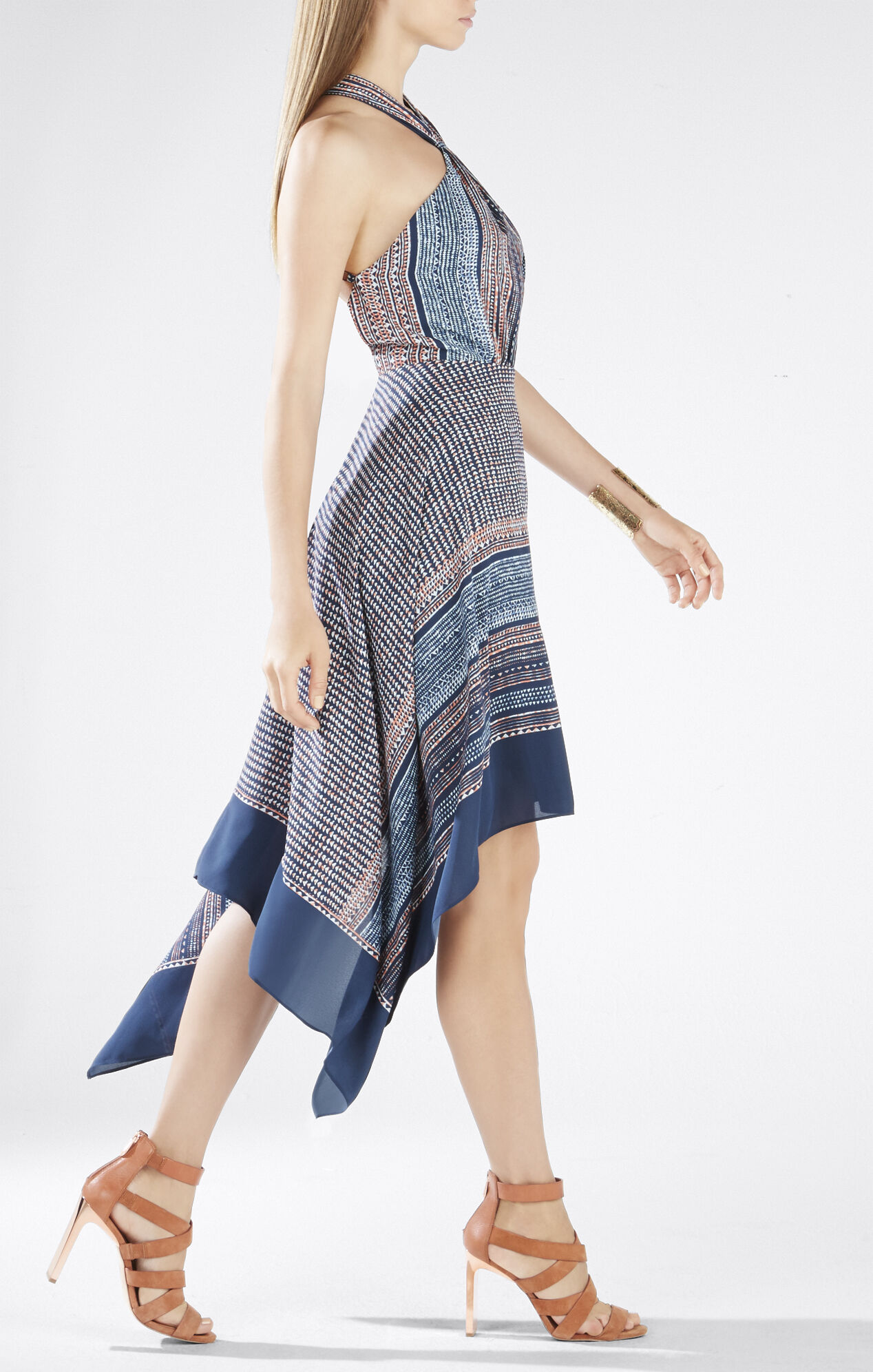 Danela Scarf Hem Crossover Halter Dress
