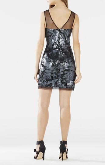 Abigail Sheer-Neck Sequined Dress