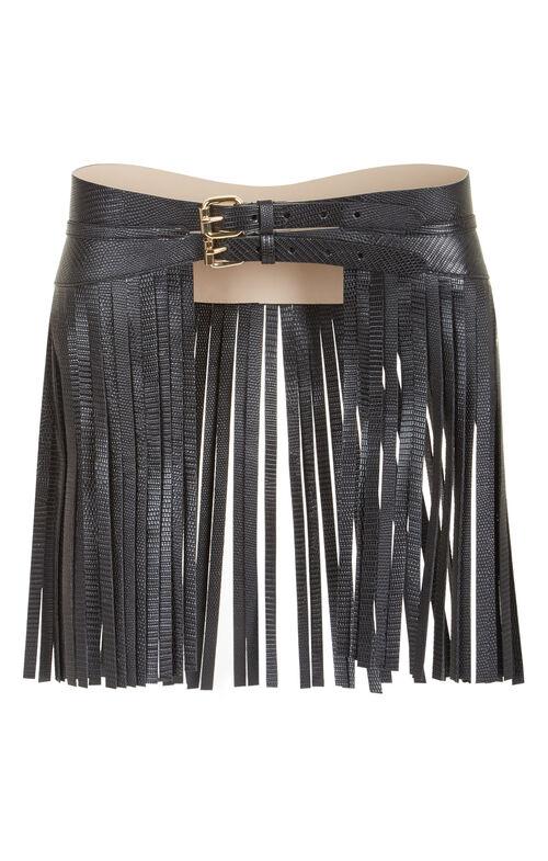 Fringe Faux-Leather Fringe Waist Belt