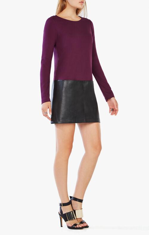 Jaylinn Faux-Leather-Blocked Dress
