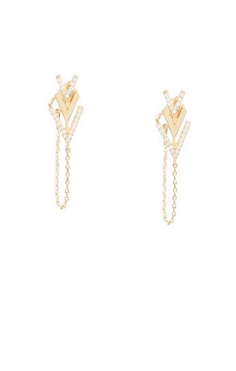Stone Chevron Chain Earrings