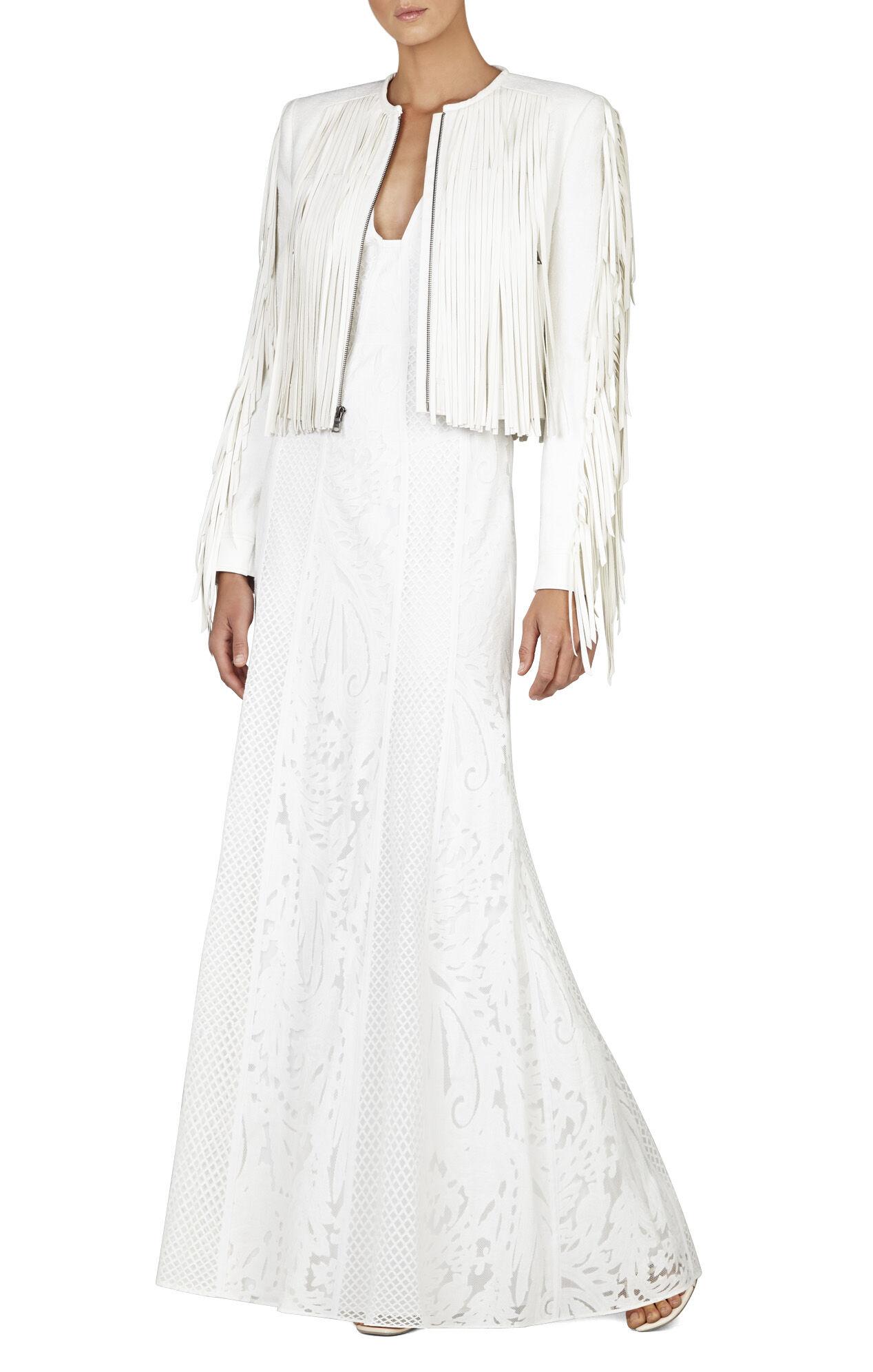 Elisia Sleeveless Lace-Blocked Gown