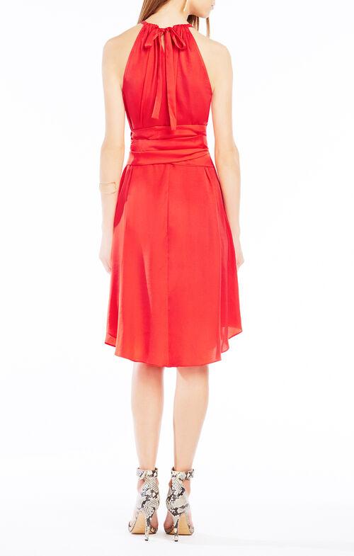 Britan Belted Satin Midi Dress