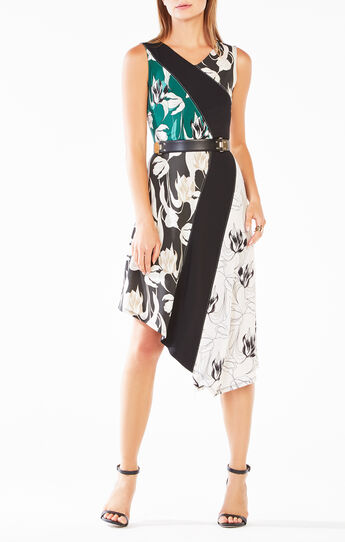 Meera Tulip Print-Blocked Asymmetrical Dress