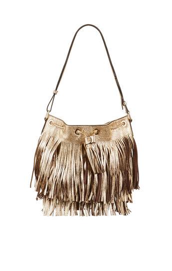 Josefina Metallic Fringe Bucket Bag