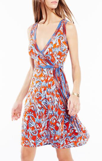 Hallee Ikat Scrolls Print Wrap Dress