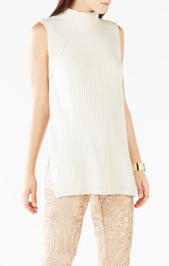 Shary Funnel-Neck Open-Back Sweater