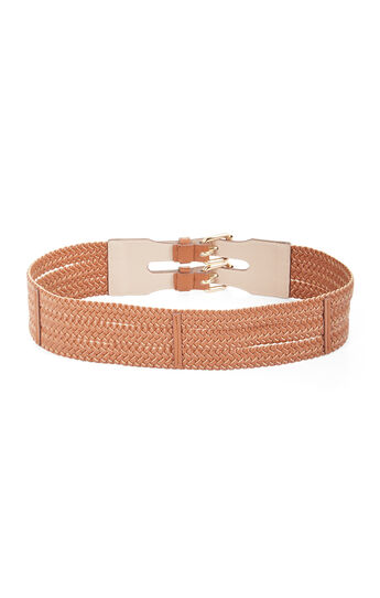 Double Buckle Faux-Leather Waist Belt