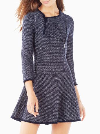 Linza Fringe Trim Knit Jacquard Dress