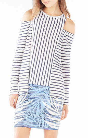 Herimone Cutout Striped Top