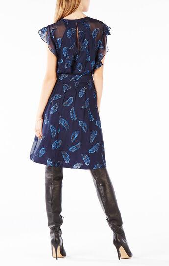Shelia Ruffle Metallic Feather Dress