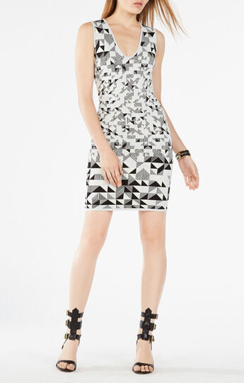 Gari Triangle Knit Jacquard Dress