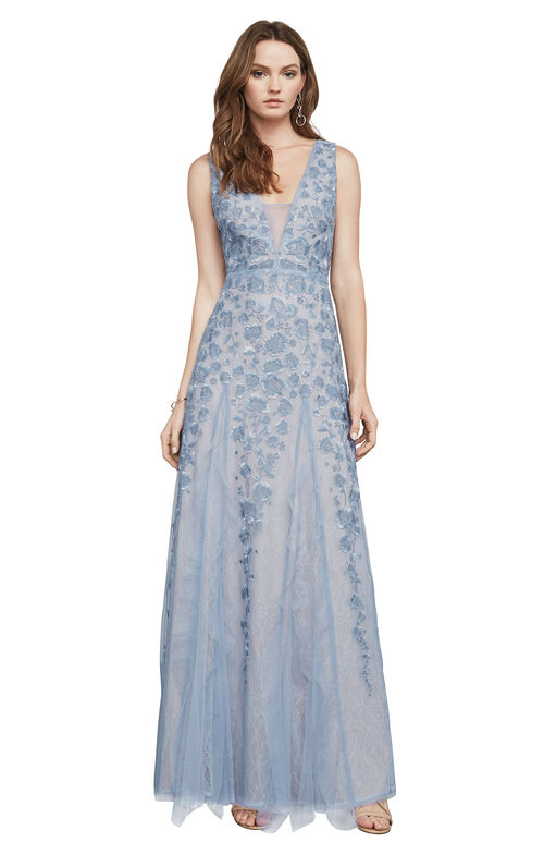 Elina Embroidered Tulle Gown