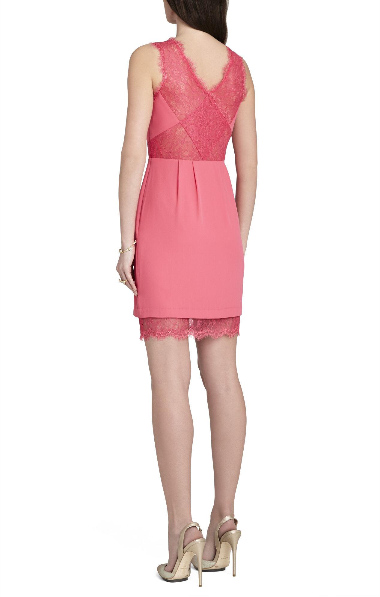 Bcbg pink lace cocktail dress