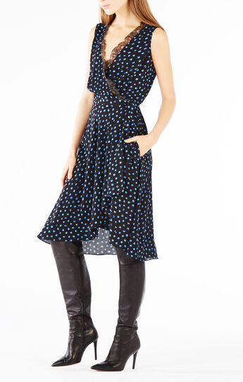 Cailyn Lace-Trim Dotted Print Wrap Dress