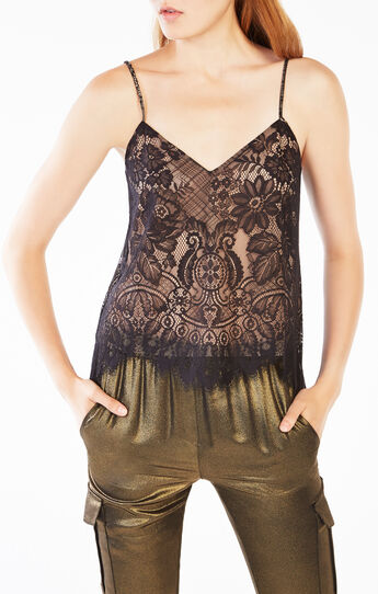 Mady Metallic Floral Lace Camisole