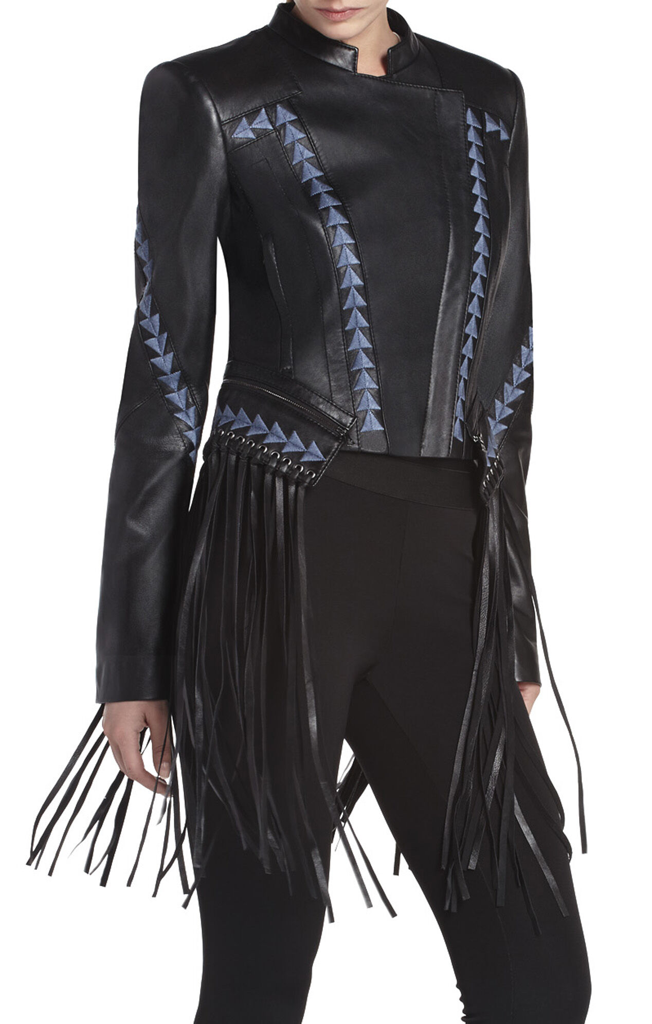 Leather jacket with fringe - Grant Fringed Leather Jacket Hover To Zoom