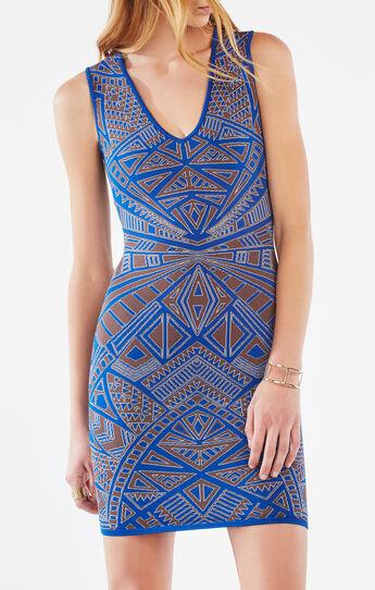 Gari Woodblock Knit Jacquard Dress