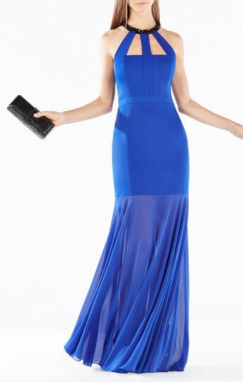 Leonara Beaded Halter Sheer Hem Gown