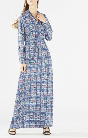 Alicha Tie-Neck Plaid Dress