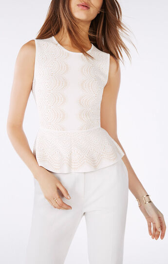Alonya Knit Jacquard Peplum Top