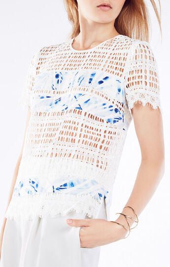 Adalynne Palms Print-Blocked Lace Top