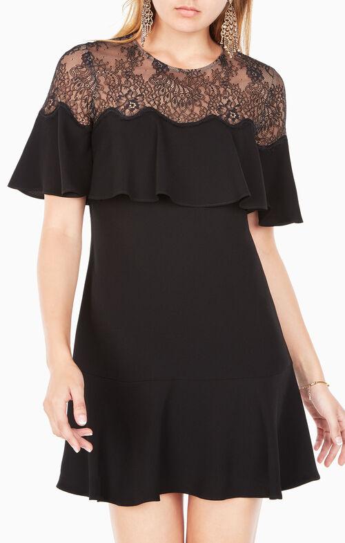 Rosy Lace-Yoke Dress