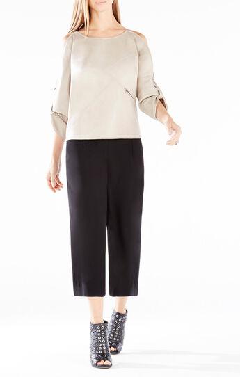 Bett Shoulder-Zip Faux-Leather Top