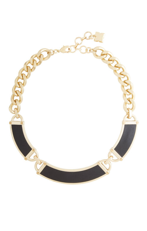 Faux-Leather Plate Necklace