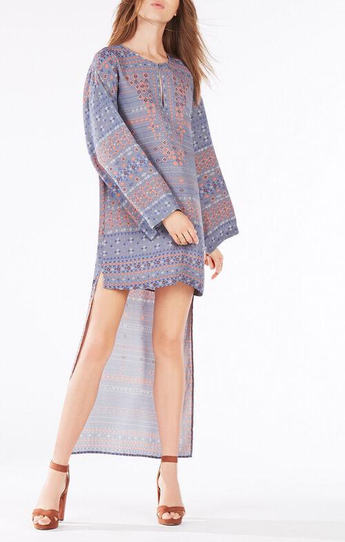 Worina Scarf Print High-Low Dress