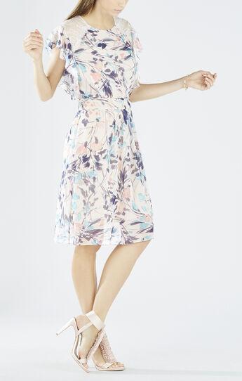 Shelia Flutter Sleeve Printed Poncho Dress
