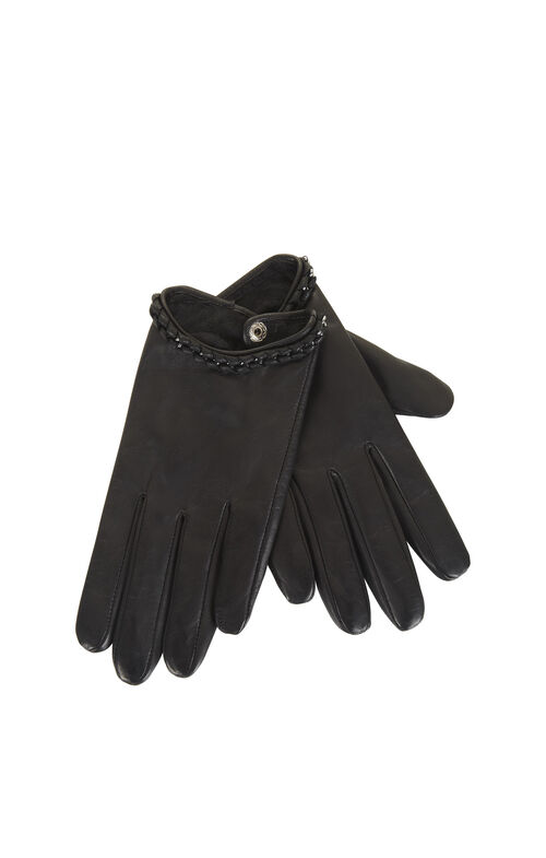 Whipstitch Chain Leather Gloves