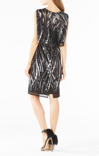 Fallyn Flame Sequined Overlay Dress
