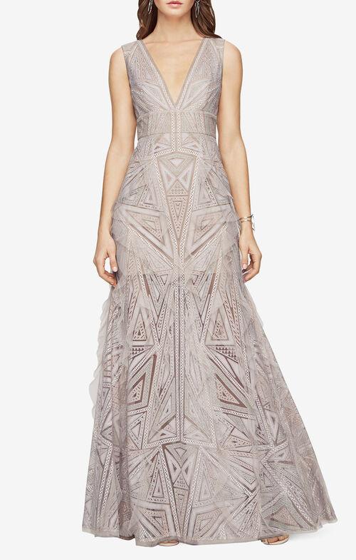 Aislinn Lace Print Gown
