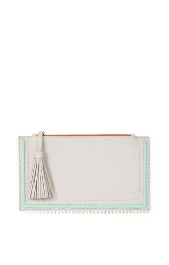 Carissa Leather Whipstitch Detail Ziptop Clutch