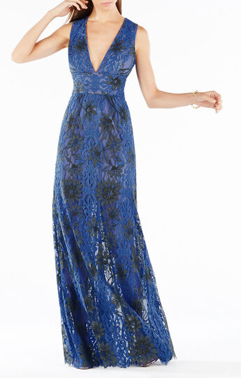 Yana Two-Tone Floral Lace Gown