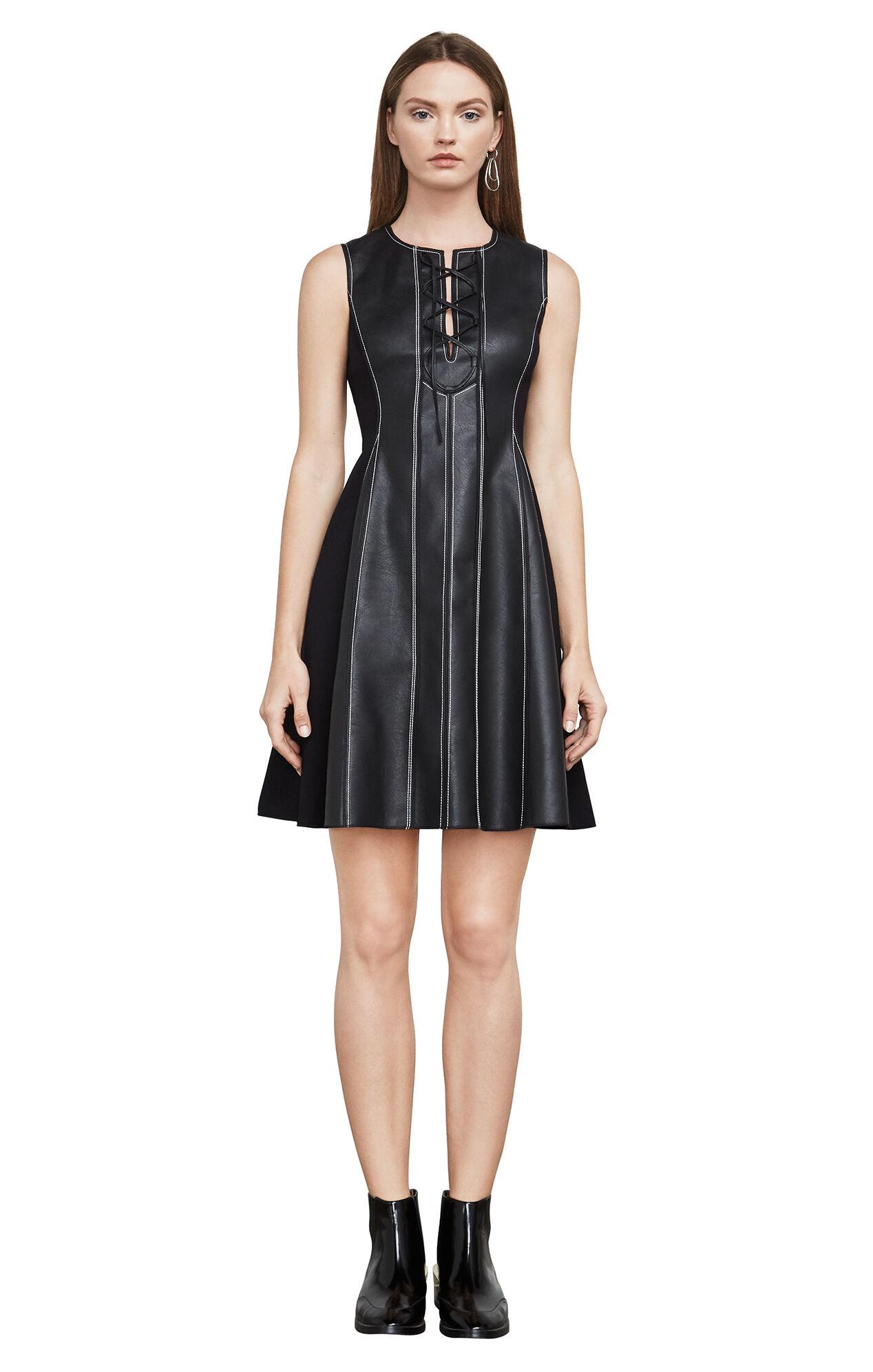 Black dress yellow sash - Jolee Sleeveless Faux Leather Dress
