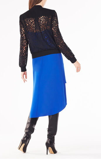 Nicolle Zip-Front Scroll Lace Top