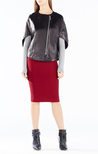 Liv Zip-Front Leather Poncho