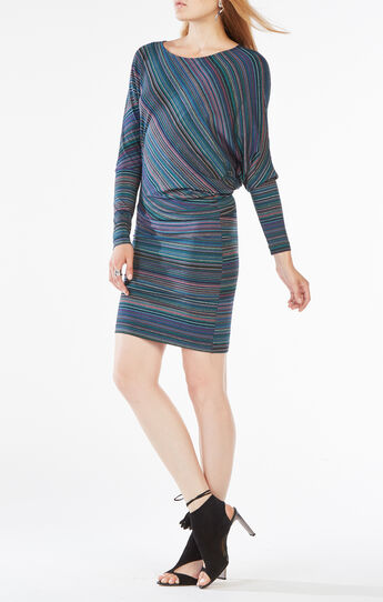 Laheld Draped Striped Jersey Dress