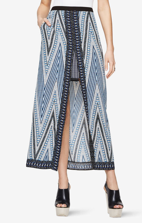 Jane Chevron-Print Maxi Skirt