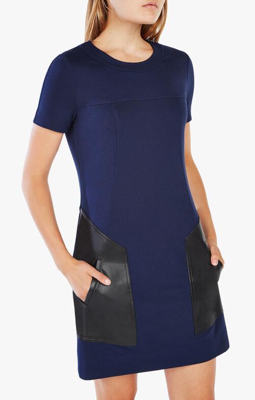 Chrissie Pleather-Blocked Dress