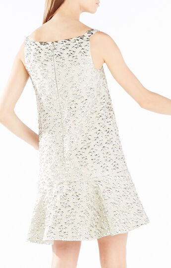 Malika Metallic Cloque Jacquard Dress