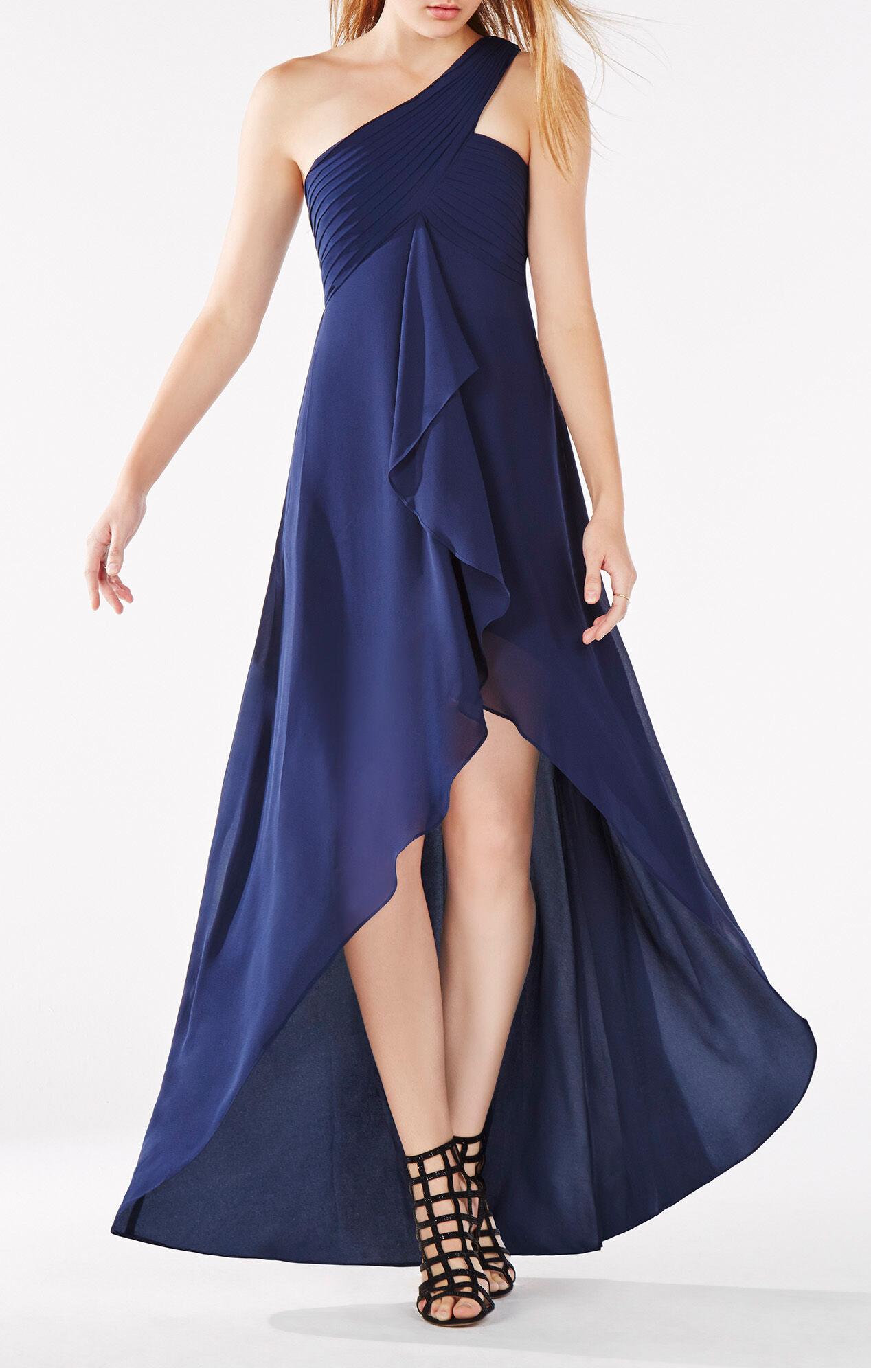 Bcbg navy blue one shoulder dress