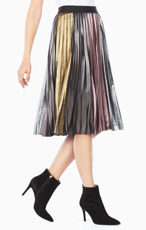 Marie Pleated Metallic Skirt