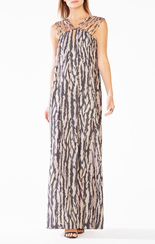 Audrii Multi-Strap Animal Print Maxi Dress