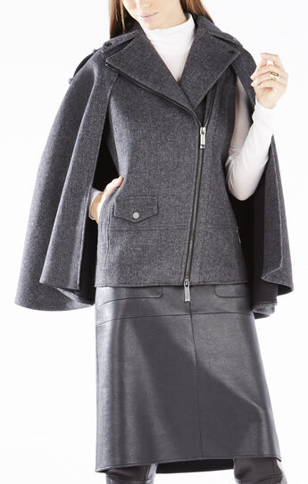 Lizzy Wide-Collar Zip-Front Cape
