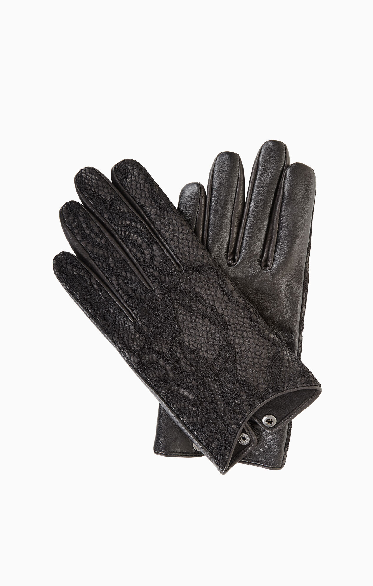 Xs black leather gloves - Lace Leather Gloves